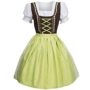 Dirndl 3 tlg.Trachtenkleid Kleid, Bluse, Schürze, Gr. 34-46 braun grün 38