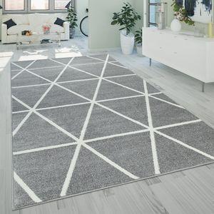 Kurzflor Teppich Grau Weiß Wohnzimmer Rauten Muster Skandi Design Weich Robust, Grösse:70x140 cm