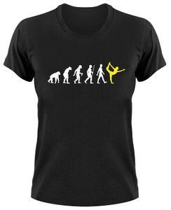 Styletex23 T-Shirt Yoga Pilates Fun Evolution of Man, Damen schwarz, S