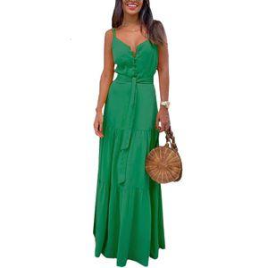 Lässiges Sommerkleid Für Damen Ärmelloser Langer Rock Mit V-Ausschnitt Knopf,Farbe: Grün,Größe:M