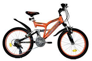 20 Zoll Kinder Jungen Mädchen Fahrrad Kinderfahrrad Mtb Mountainbike Fahrrad Rad Bike 10 GANG Beleuchtung Fully VOLLFEDERUNG 2700 Orange