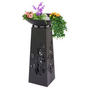 Pflanzensäule HWC-E65, Dekosäule Blumensäule Blumenhocker, 107x58x58cm  anthrazit