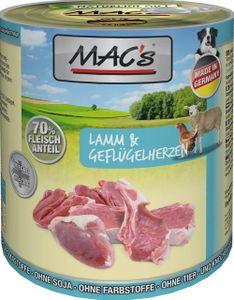 6x800g MAC's Lamm & Geflügelherzen Hundefutter Nass