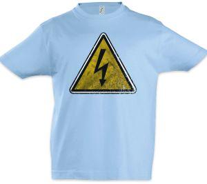 Caution High Voltage Logo Sign Kinder Jungen T-Shirt, Größe: 4 Jahre