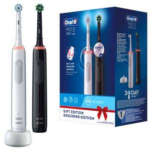 Oral-B Pro 3 3900 Doppelpack Elektrische Zahnbürsten mit visueller 360° Andruckkontrolle für extra Zahnfleischschutz, 3 Putzmodi inkl. Sensitiv, Timer, weiß/schwarz