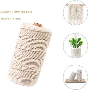 naturliches Baumwolle Garn,Baumwollgarn Basteln,baumwollkordel weiß,Kordel DIY Handwerk,makramee garn (200M-3mm)