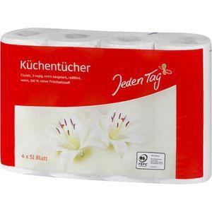 Jeden Tag Küchentücher 3-lagig 4x51 Blatt