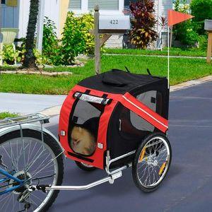 WYCTIN Hund Fahrradanhänger Hundeanhänger Anhänger Hundetransporter Fahrrad Anhänger inkl. Kupplung (Rot)