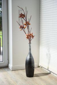 "Vase Deko Bodenvase Fiberglas ""Delgada"", Schwarz Silber - 15x34 cm"
