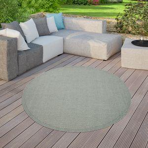 In-& Outdoor Teppich Balkon Terrasse Küchenteppich Unifarben Modern Grün, Größe:Ø 160 cm Rund
