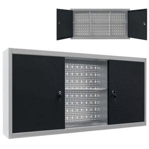 anlund Wand-Werkzeugschrank Industrie-Stil Metall Grau und Schwarz