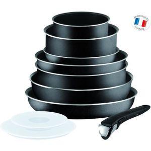 TEFAL INGENIO ESSENTIAL Kochgeschirrset 10-teilig L2008802 16-20-24-26-28cm - Alle Wärmequellen außer Induktion - Schwarz