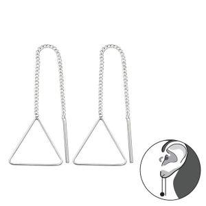 """Durchzieher Ohrringe 925 Silber """"Triangel Dreieck"""" Ketten Ohrhänger"""