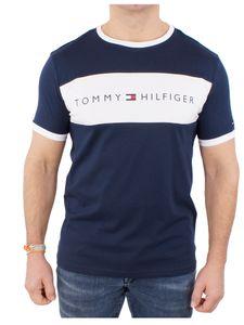 Tommy Hilfiger Herren Flaggen-Logo-T-Shirt, Blau M