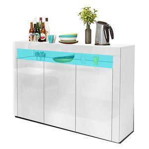 YOLEO Küchenschrank Sideboard mit LED-Leuchte Anrichte matt Hochglanz für Küche Esszimmer Wohnzimmer weiß 130 x 88 cm