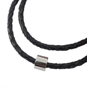 Lederkette geflochten Leder-Band Halskette mit Anhänger Damen Kette 6 mm Schwarz, Länge:65 Zentimeter