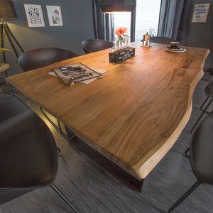 Massiver Baumstamm Esstisch MAMMUT 140cm Wild-Akazie 2,6cm Platte Industrial Kufengestell Tisch Konferenztisch Holztisch