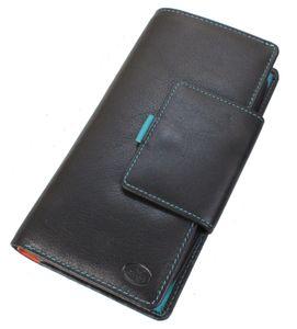 XXL Old River Bunte Leder Brieftasche Damen Geldbörse im Hochformat Rindleder