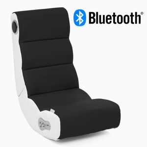 WOHNLING® Soundchair WOBBLE in Schwarz Weiß mit Bluetooth | Musiksessel mit eingebauten Lautsprechern | Multimediasessel für Gamer | 2.1 Soundsystem - Subwoofer | Music Gaming Sessel Rocker Chair