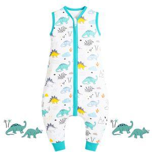Baby Schlafsack Sommer mit Füßen 100% Baumwolle Kinder Sommerschlafsack für Jungen und Mädchen, Dinosaurierpark, 80cm Passend für Baby Höhe 80-95cm