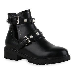 Mytrendshoe Damen Ankle Boots Nieten Stiefeletten Zierperlen Schnallen Schuhe 835503, Farbe: Schwarz, Größe: 37