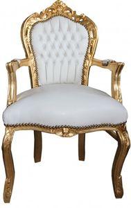 Casa Padrino Barock Esszimmer Stuhl mit Armlehnen Weiß / Gold  Lederoptik