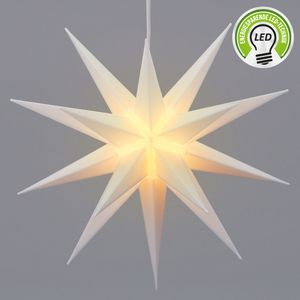 Leuchtstern aus Kunststoff Weihnachststern zum hängen beleuchtet in weiß  inkl. Leuchtmittel Ø 35cm