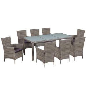 Huicheng Poly Rattan 9-tlg. Garten Essgruppe mit Glasplatte Tisch, 8 Rattansessel und Auflagen Grau