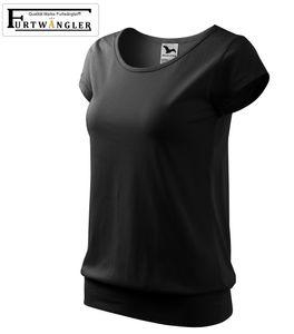 T-Shirt Furtwängler City schwarz L Damenshirt 150g/m² mit Bund sehr kurze Ärmeln