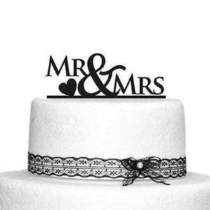 Oblique Unique Hochzeitstorten Topper Mr & Mrs Kuchendeckel Hochzeit - schwarz