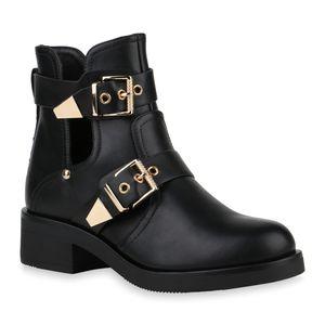 Mytrendshoe Damen Ankle Boots Cut Out Stiefeletten Schnallen Schuhe Booties 832228, Farbe: Schwarz Gold, Größe: 37