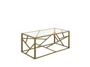 Couchtisch Gold Transparent 50 x 100 cm Glastischplatte Metallgestell Glänzend Zusätzlichen Streben Rechteckig Modern