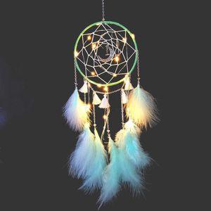 Traumfänger mit LED Licht, Handgemachte Dreamcatcher mit Federn, Maiden Zimmer Schlafzimmer Romantische Dekoration, für Wandbehang Wohnkultur Ornamente Handwerk (Grün)