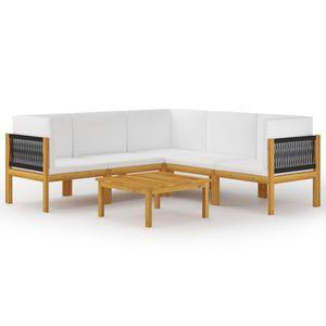 Balkonmöbel Set für 6 Personen, 6-TLG. Garten-Lounge-Set/Sitzgruppe/Gartengarnitur mit Kissen Cremeweiß Massivholz Akazie☆3441