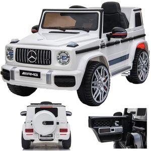 Mercedes-Benz G 63 G63 AMG V8 Biturbo Kinderauto Kinderfahrzeug Kinder Elektroauto 12V  / 2x Motoren / Öffnende Türen (Weiß)
