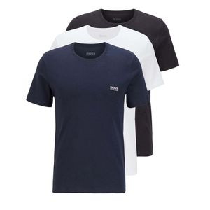 HUGO BOSS Herren T-Shirts, 3er Pack -  Rundhals, Pure Baumwolle Blau/Weß/Schwarz XL