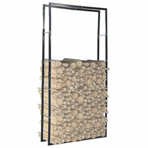 Brennholzregal Schwarz 100×25×200 cm Stahl