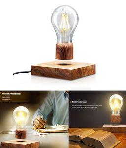 Nchtlicht LED Magnetisch Schwebende Lampe 360° frei drehbar, mit Touch-Taste magnetische in edler Holz-Optik drahtlose LED-Glühbirne Dekoleuchte mit Magnettechnologie Geschenkideen Nachtlicht für Raumdekoration Heimdekoration Weihnachten Geschenk