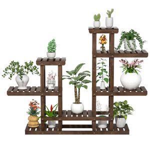 Yaheetech Pflanzenregal Holz, Blumenregal 6 Ebenen, Blumentreppe Garten, Pflanzentreppe Outdoor, Blumenständer mehrstöckig Holzregal 120,5x25x96,5 cm