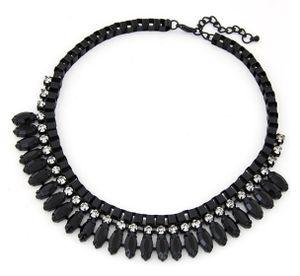 Statement Halskette Kette Perlen Kette XXL Collier Damen-Kette in schwarz mit Strass-Steinen Modeschmuck Schmuck