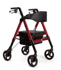 FabaCare XXL Rollator Goliat, höhenverstellbar, faltbar, Gehwagen, bis 200 kg, Farbe Rot