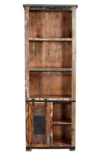 SIT Möbel Bücherschrank | 5 Fächer, 1 Schiebetür | Altholz mit Metall | natur-bunt-schwarz- | B 66 x T 32 x H 180 cm | 11308-98 | Serie JUPITER