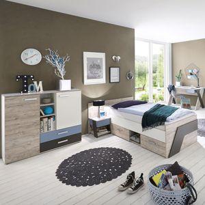 Jugendzimmer Komplett mit Schreibtisch 4-teilig LEEDS-10 in Sandeiche Nb. mit weiß, Lava und Denim Blau