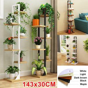 143x30CM 6-Tier Holz Pflanzenständer Blumentopf Regal Zimmerpflanzen Lagerregale  - Nussbaum&Schwarzerer Regal