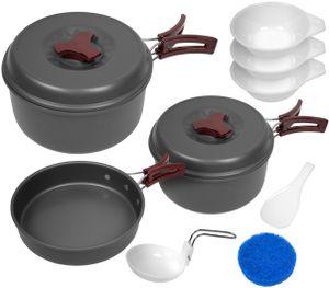Aluminium Camping Kochgeschirr-Set 10-teilig - Mehrfarbig - Mehrteilig
