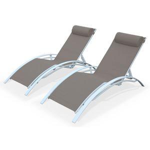 Sonnenliegen-Duo aus Aluminium - Louisa Taupe - Liegestühle aus Aluminium und Textilene
