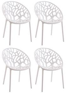CLP 4er Set Stuhl Hope stapelbar und mit modernem Design, Farbe:weiß