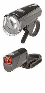 Trelock LED-Batterieleuchten-Set, bestehend aus 15 Lux LED-Scheinwerfer LS 356 und  LED Rücklicht LS 716; 671