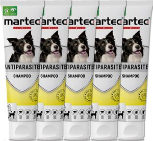 martec PET CARE 5x250ml Hundeshampoo gegen Flöhe Parasitenshampoo gegen Zecken, Flöhe, Milben