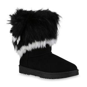 Mytrendshoe Damen Schlupfstiefel Warm Gefütterte Stiefel Kunstfell Schuhe 836021, Farbe: Schwarz Weiß, Größe: 38